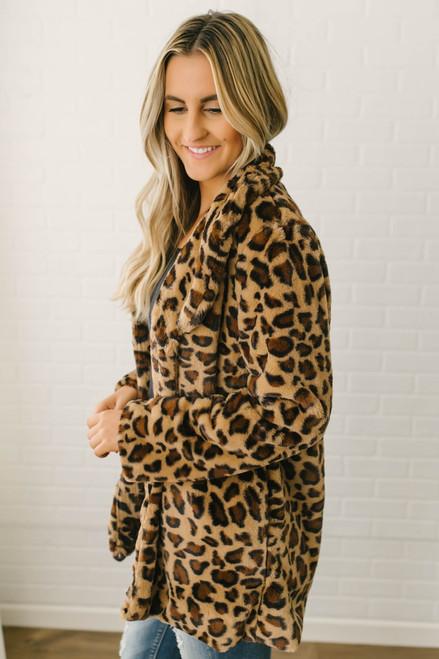 Upper East Side Leopard Jacket - Camel Multi