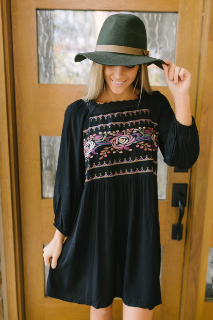 Avalon Crochet Detail Embroidered Dress - Black