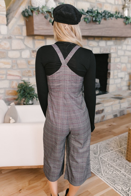 Sonia Knot Front Plaid Jumpsuit - Grey Multi