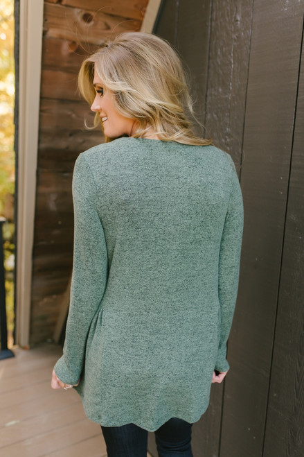 Meant for Me Soft Brushed Top - Heather Olive
