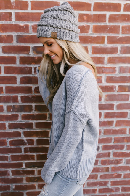 Seam Detail Twisted Back Sweater - Light Blue
