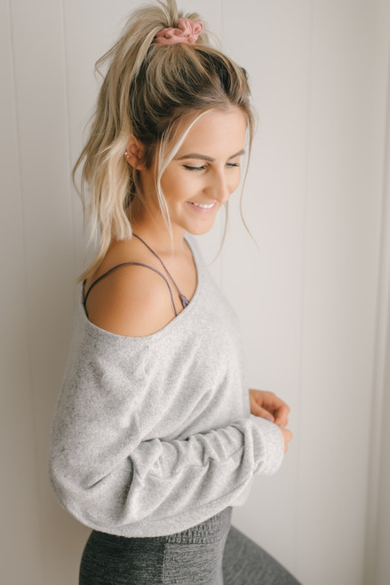 Soft Brushed Slouchy Dolman Top - Heather Grey