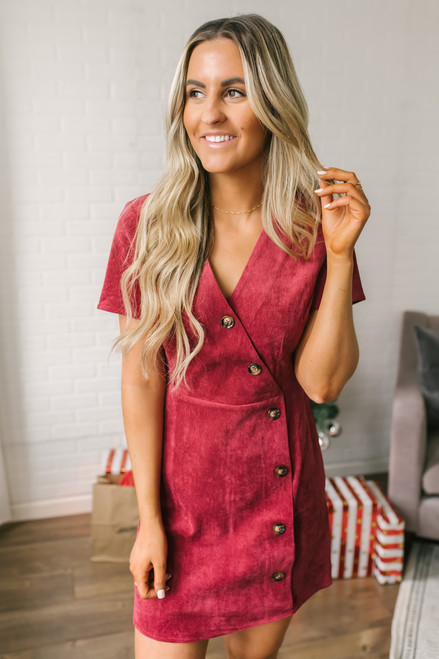 Everly Button Down Corduroy Dress - Burgundy
