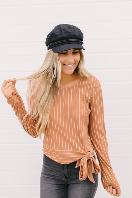 Everly Side Tie Striped Top - Rust/White
