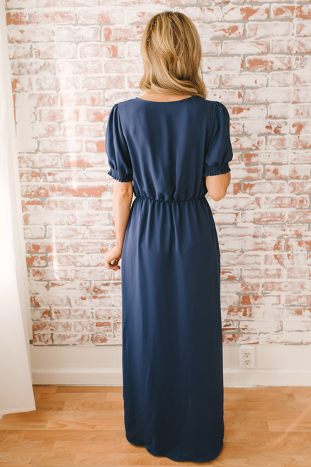 Everly High Low Tulip Maxi Dress - Navy