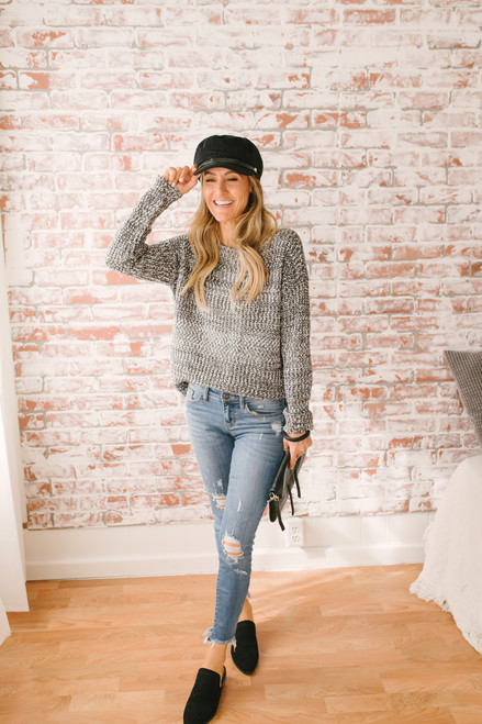 Mix it Up Two Tone Boatneck Sweater - Charcoal/White