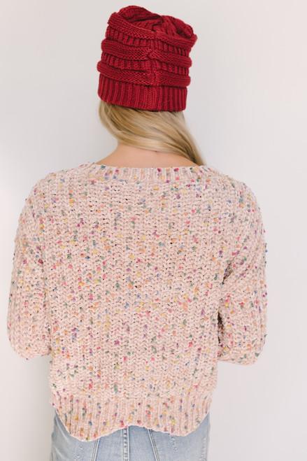 Confetti Chenille Scalloped Sweater - Taupe Multi