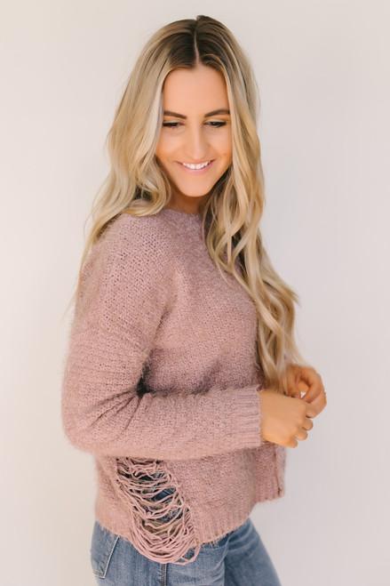 Fairytale Dream Distressed Detail Soft Sweater - Mauve
