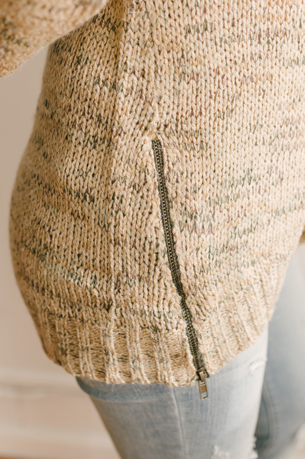 Mountain Trail Zipper Detail Marbled Sweater - Tan Multi