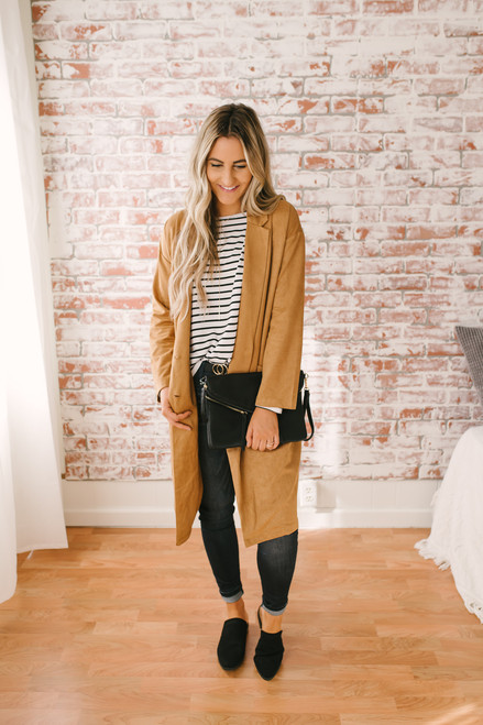 Downtown London Textured Coat - Camel
