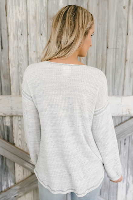 Contrast Stitch Marbled Waffle Knit Top - Heather Grey