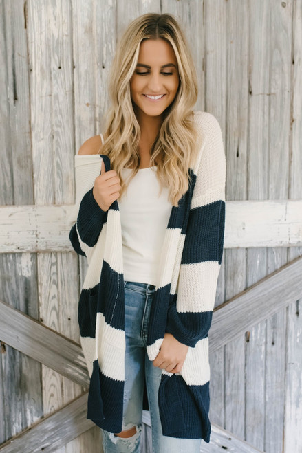 University Square Hooded Striped Cardigan - Navy/Cream