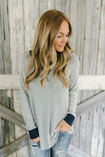 Contrast Stitch Striped Thermal Top - Navy/Ivory