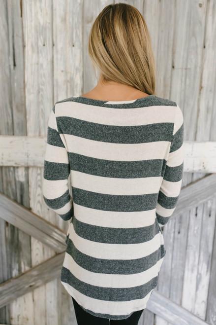 Gwen Soft Brushed Striped Top - Charcoal/Oatmeal