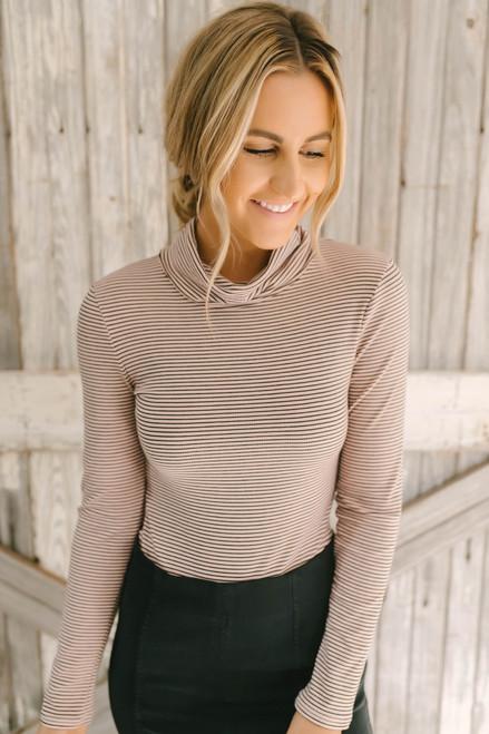 Mock Neck Striped Ribbed Knit Bodysuit - Pink/Black