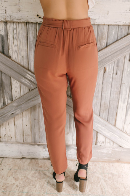Anything But Mine Tie Waist Pants - Rust