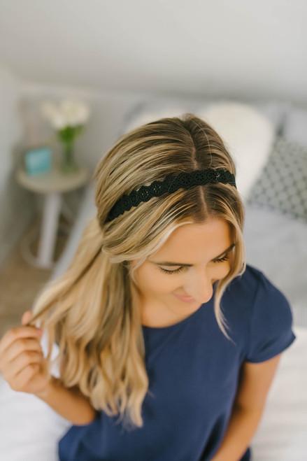Headbands of Hope Floral Cutout Headband - Black