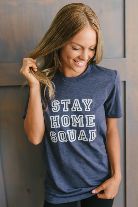 Stay Home Squad Tee - Heather Navy
