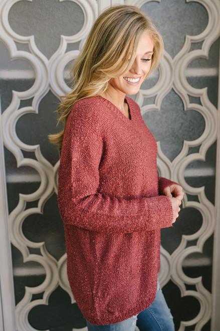 Autumn Spice V-Neck Sweater - Brick