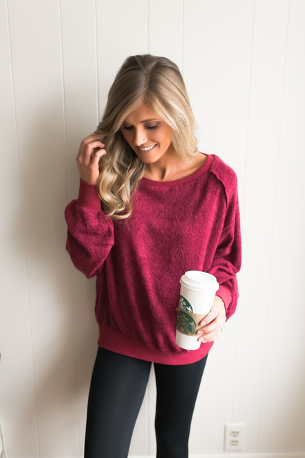 Bonfire Nights French Terry Pullover - Raspberry  - FINAL SALE