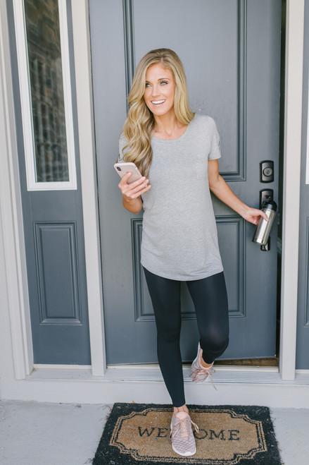 Arielle Sleeve Detail Pocket Tee - Heather Grey