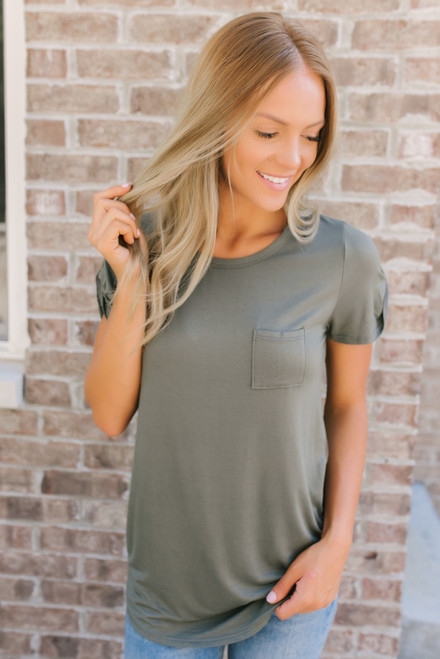 Arielle Sleeve Detail Pocket Tee - Olive