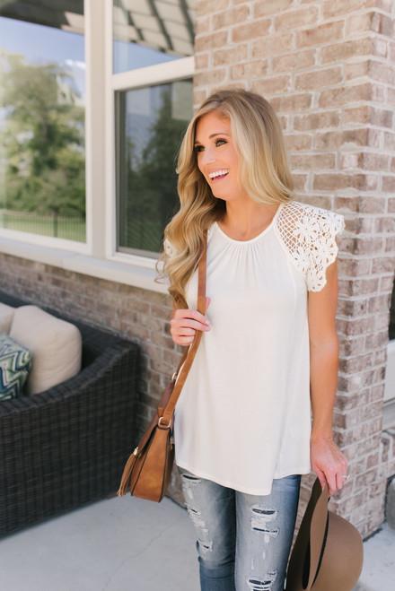 Lexi Crochet Eyelet Sleeve Tee - Off White