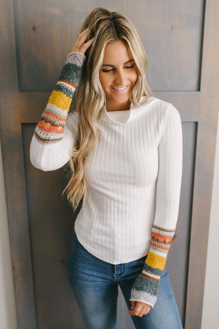Free People Mixed Up Cuff Sweater - Ivory