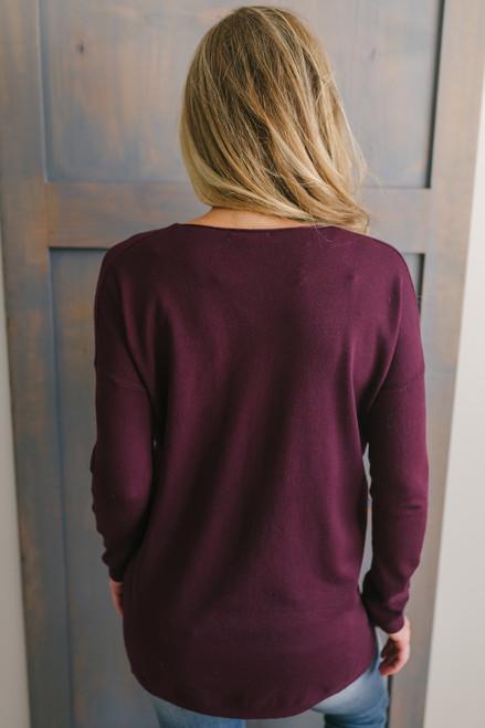 Lightweight V-Neck Sweater - Burgundy