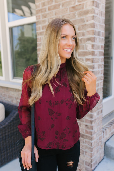 BB Dakota Hollywood & Vine Printed Top - Burgundy