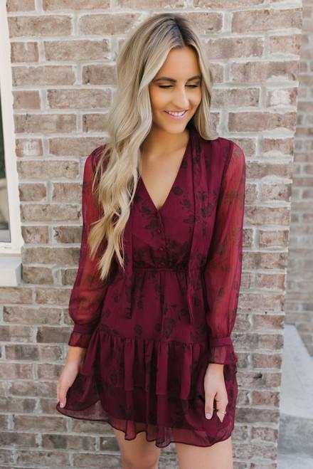 BB Dakota Wine Down Printed Dress - Burgundy