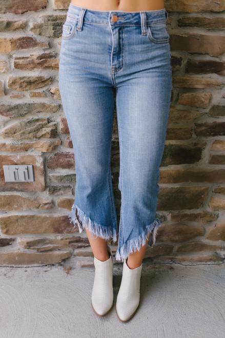 Wonderwall Frayed Cropped Flare Jeans - Medium Wash