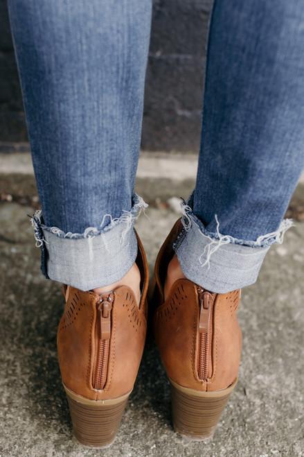 Rumor Has It Perforated Booties - Brown - FINAL SALE