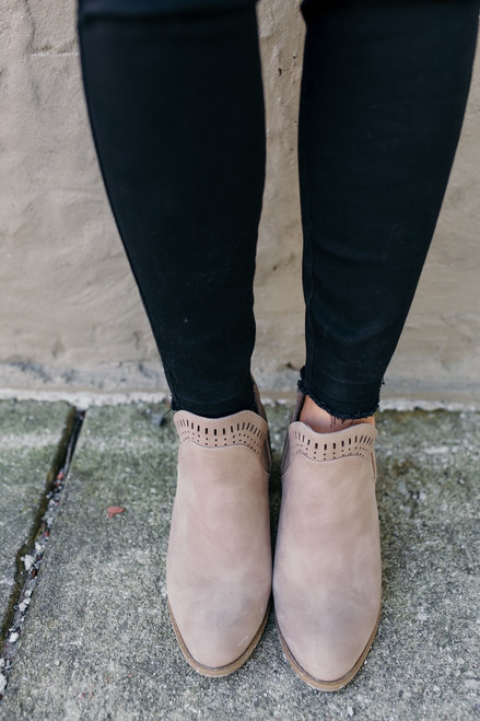 Rumor Has It Perforated Booties - Taupe