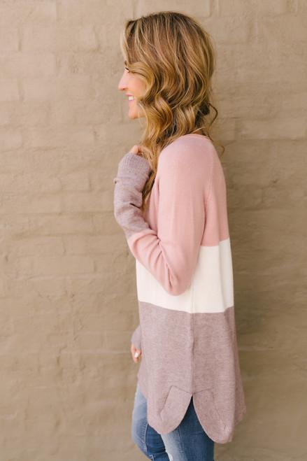 Lake Lodge Colorblock Sweater - Rose/Ivory/Mocha