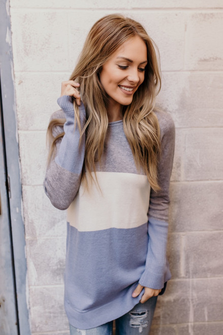 Lake Lodge Colorblock Sweater - Grey/Ivory/Dusty Blue