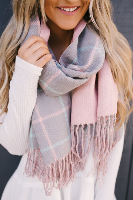 Plaid Reversible Scarf - Grey/Pink/Mint