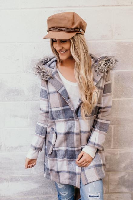 BB Dakota You Oughta Know Plaid Coat - Tan Multi