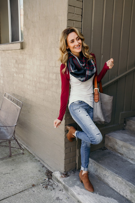Plaid Infinity Scarf - Navy/White/Red/Green