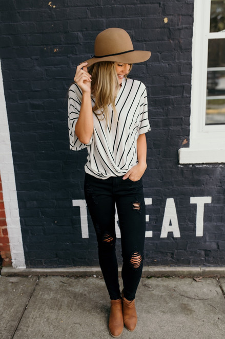 Want You to Know Striped Twisted Top - White/Black