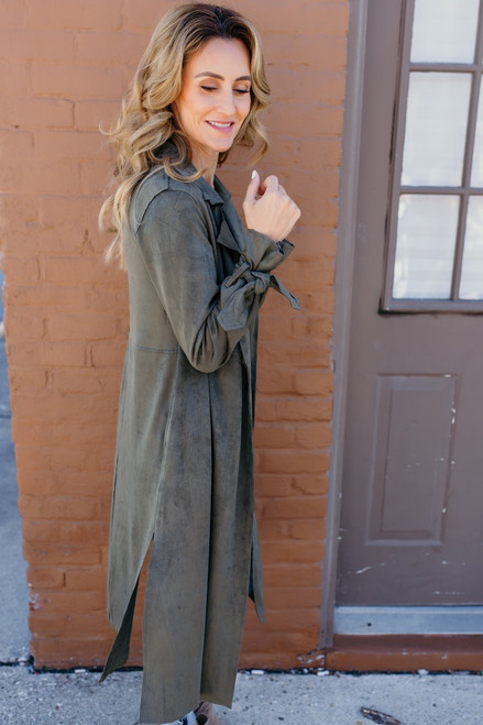 Genevieve Faux Suede Duster Cardigan - Olive