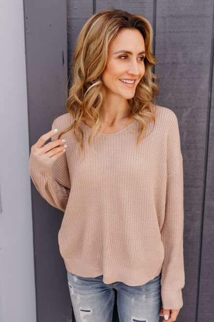 In My Dreams Knot Back Sweater - Taupe - FINAL SALE