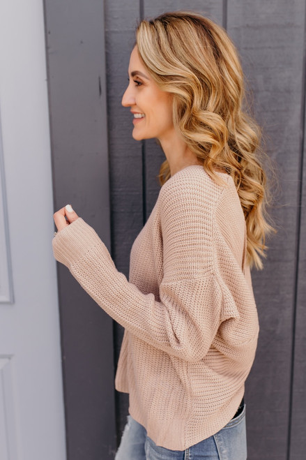 In My Dreams Knot Back Sweater - Taupe