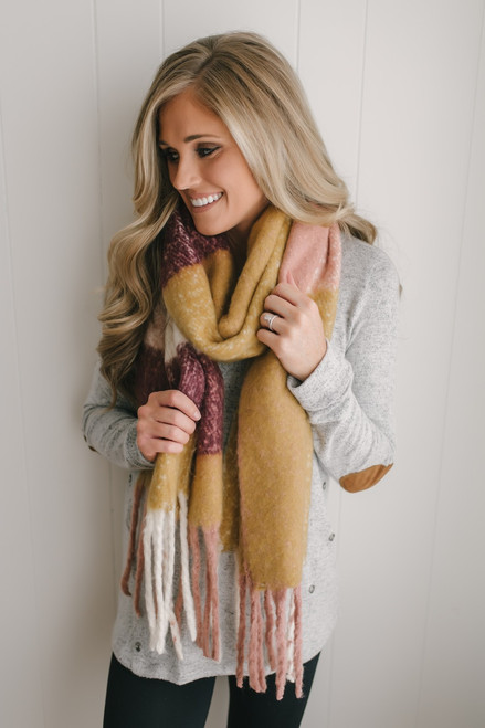 Fall Cuddles Plaid Fringe Scarf - Blush Multi