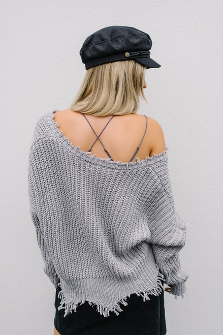 South of France Frayed Edge Sweater - Heather Grey