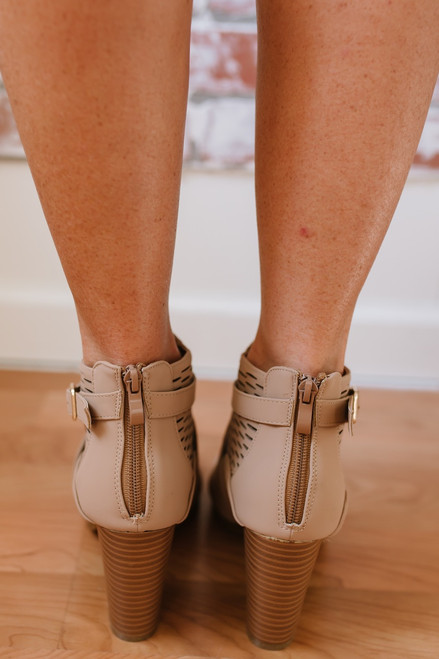 Whirlwind Romance Buckle Perforated Booties - Tan - FINAL SALE