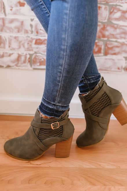 Whirlwind Romance Buckle Perforated Booties - Olive