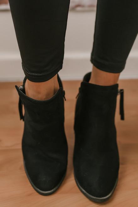 Hollis Zipper Detail Faux Suede Booties - Black