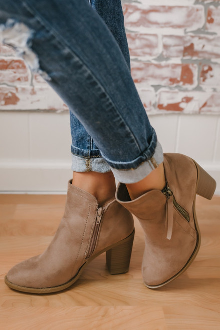 Hollis Zipper Detail Faux Suede Booties - Taupe