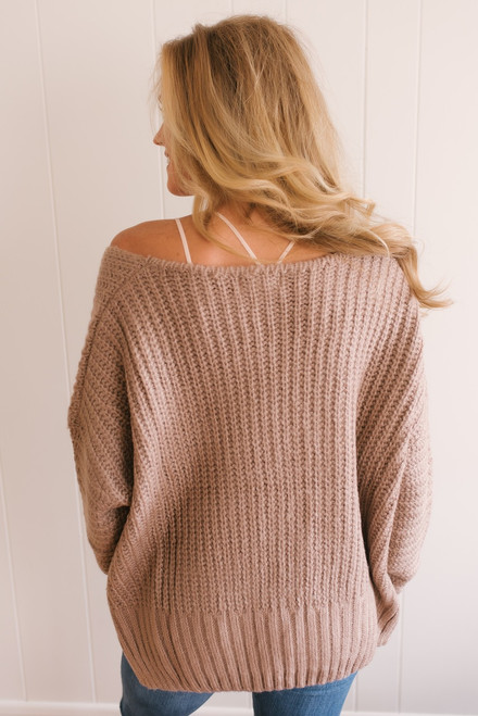 Alpine Resort V-Neck Sweater - Mocha  - FINAL SALE